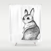 jojo Shower Curtains featuring Ballpoint Bunny by JoJo Seames