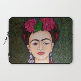 Frida portrait with dalias Laptop Sleeve