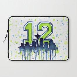 Seattle 12th Man Art Seattle Skyline Space Needle Laptop Sleeve