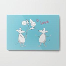 two enamored mouses Metal Print