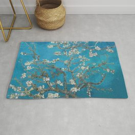 Vincent van Gogh Blossoming Almond Tree (Almond Blossoms) Medium Blue Rug