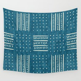 Mud Cloth Patchwork in Teal Wall Tapestry