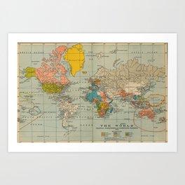Vintage world map Kunstdrucke