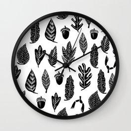 Black and white linocut leaves fall autumn pattern minimal art print home decor Wall Clock