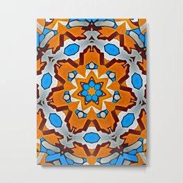 Orange Magical Floral Star Metal Print