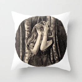 Dismay In Fox Mask Throw Pillow