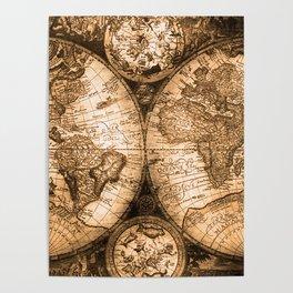 World Map Antique Vintage Maps Poster