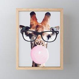 Giraffe wearing glasses blowing bubble gum Framed Mini Art Print
