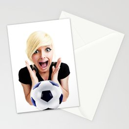 Crazy Female Soccer Fan Stationery Cards