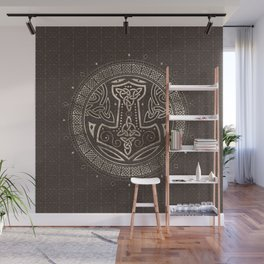 The hammer of Thor Brown Leather and gold Wall Mural