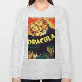 Vintage 1931 Bela Lugosi Dracula Movie Advertisement Poster Long Sleeve T-shirt