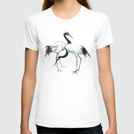 Japanese Cranes, Asian ink Crane bird artwork design T-shirt