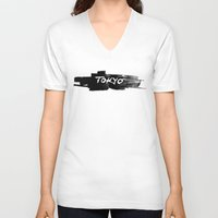 tokyo V-neck T-shirts featuring Tokyo by Artworks by PabloZarate Inc.