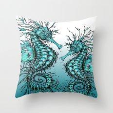 Cyan Seahorse Throw Pillow