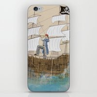 pirate ship iPhone & iPod Skins featuring Pirate by Polina Kovaleva