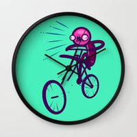 cycling Wall Clocks featuring Cycling Disaster by Artistic Dyslexia