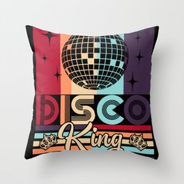 Disco King 1970s Vintage 70s Dance Party Gift Throw Pillow