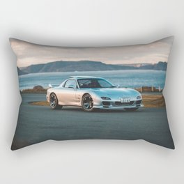 Silver rx7 parked during sunset Rectangular Pillow