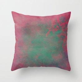 Grunge Garden Canvas Texture:  Pink and Teal Floral Throw Pillow