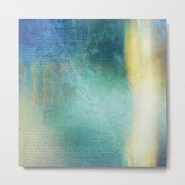 Decorative Blue Writing Texture Vintage Metal Print