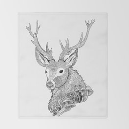 Forest Stag Throw Blanket