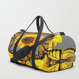 WESTERN STYLE YELLOW SUNFLOWERS & ORANGE MONARCH BUTTERFLIES Duffle Bag