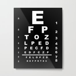 Inverted Eye Test Chart Metal Print
