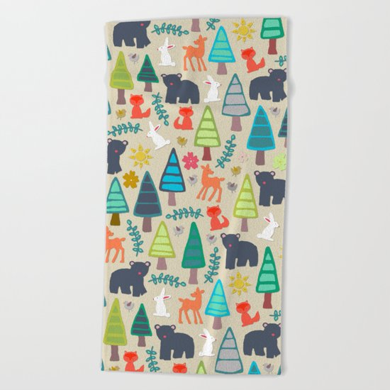 summer woodland Beach Towel