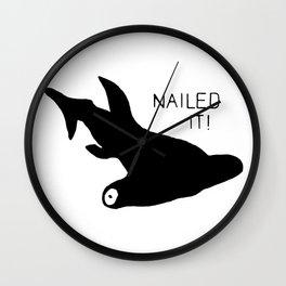 Hammerhead Shark Nailed It! Wall Clock