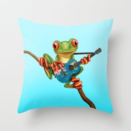 Tree Frog Playing Acoustic Guitar with Flag of Turks and Caicos Throw Pillow