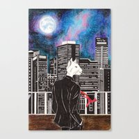 cityscape Canvas Prints featuring Cityscape by Toa's Wildscape