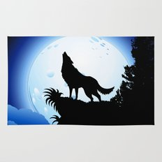 Wolf Howling at Blue Moon Rug