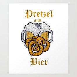 Oktoberfest German Pretzels & Beer Lover Heart Shaped Pretzel Art Print