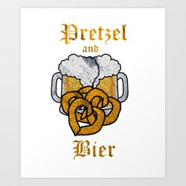 Oktoberfest German Pretzels & Beer Lover Heart Shaped Pretzel Art Print