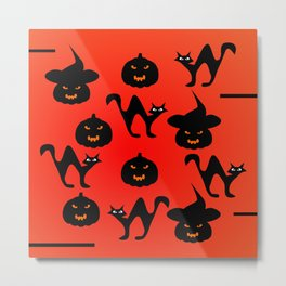 Halloween with cats and pumpkins Metal Print