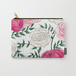 Rose Florals and Stems Carry-All Pouch