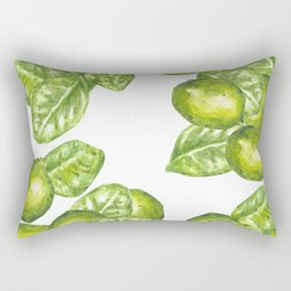 Watercolor Limes and Leaves Rectangular Pillow