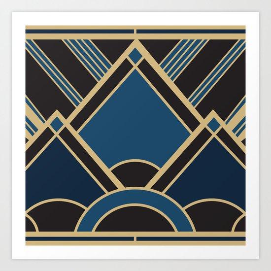 Art Deco New Tomorrow In Blue Art Print