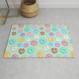 Scattered Rainbow Donuts on spotty mint - repeat pattern Rug