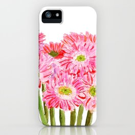 Pink Gerbera Daisy watercolor iPhone Case