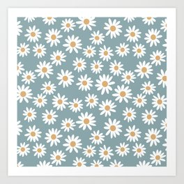 Daisies - daisy floral repeat, daisy flowers, 70s, retro, black, daisy florals dusty blue Art Print