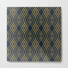 Navy & Gold Sashiko Pattern Metal Print