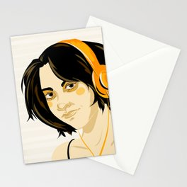 Gynoid - Woman with Orange Headphones Stationery Cards