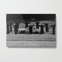 This Cult is Not a Cult! humorous black and white photograph Metal Print