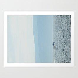 Boat & Mountain Art Print