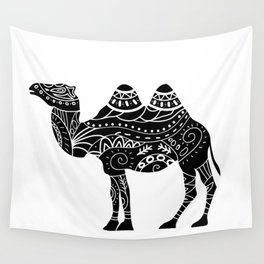 camel silhouette with tribal ornaments Wall Tapestry