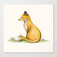 mr fox Canvas Prints featuring MR Fox by Lynette Sherrard Illustration and Design