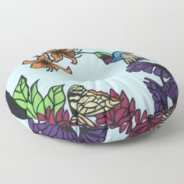 Hummingbird Garden Paper-cut  Floor Pillow