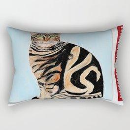 Cat sitting on window sill Rectangular Pillow