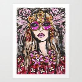 Pink Feather Sunglasses Girl Art Print